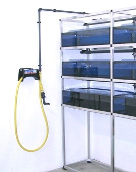 Xenopus rack with water removal station(mounted on the wall beside it)